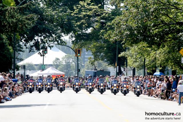 The Vancouver Police Department motorcycle brigade in the Vancouver gay pride parade.