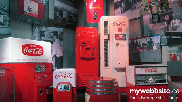 Displays of Coca-Cola history at the World of Coca-Cola