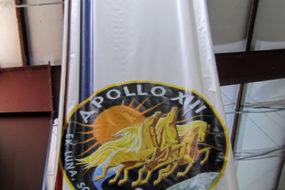 Apollo 13 commemorative banner at Space Centre Houston