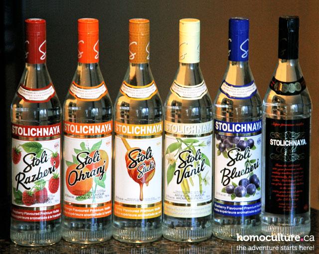 Stolichnaya Vodka Bottles