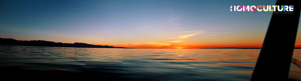 The sun setting over the Pacific Ocean near Victoria, B.C.