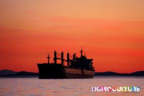 A cargo ship at sunset near Victoria, B.C.