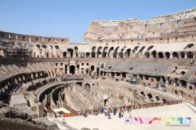 Inside the Roman Coliseum in Rome, Italy.