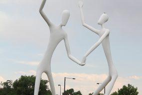 The dancing men art installation at the Denver Center for Performing Arts in Denver